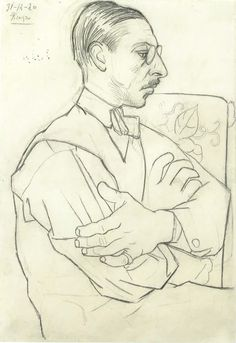 Picasso sketch of Stravinski - Under the direction and mentorship of Serge Diaghilev, the visual artists, composers and choreographers worked with the Ballets Russes. The Visionary Russian Entrepreneur hired Picasso, Stravinsky and Balanchine to Revolutio Art Picasso, Picasso Sketches, Pablo Picasso Drawings, Figure Drawing, Line Drawing, Painting & Drawing, Famous Artists, Georges Braque, Art History
