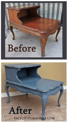 End Table - Before & After Western Furniture, Distressed Furniture, Repurposed Furniture, Cheap Furniture, Shabby Chic Furniture, Furniture Projects, Furniture Making, Furniture Makeover, Vintage Furniture