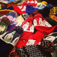 Look at all these Christmas hats ready to keep everyone warm this winter