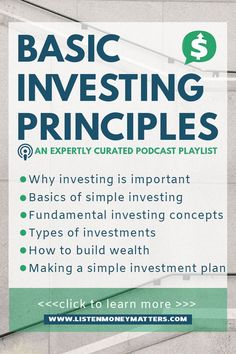Basic Investing Principles Education is key to making good investments. Learn the basics–simple investing, fundamental investing concepts, investment types, building wealth, and making a simple investment plan. Click this pin and start investing! Investing In Stocks, Investing Money, Saving Money, Stock Investing, Saving Tips, Planning Budget, Financial Planning, Financial Literacy, Financial Assistance