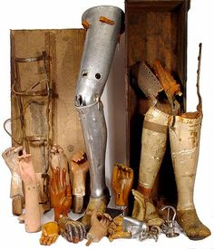 This is a sampling of prosthetics from the 1800 to the mid 1930s. It's just a few of the many artifacts that can be found in our collection. Pictured above is a rare aluminum leg with flush aircraft rivets… A pair of early legs in the original box with label… an assortment of articulated hands… but most interesting are the original plaster, wax and wood hand models. All these look beautiful with any decor.