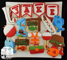 Gone Fishing Cookies, Onesies, Fishing Rod, Fishing Sign, Fish, Fisher's Hat, Tackles & Tackle Box