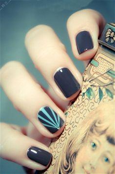 Today sharing: Dark-colored Printing #Nails #Art