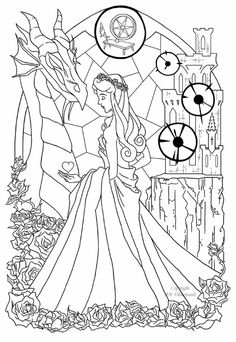 Stained Glass Sleeping Beauty Coloring Sheet by Mandie