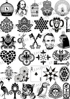 Ceramic decals for glass fusing, ceramics, beads, hot glass and emaille. Old Style Tattoos, Dream Tattoos, Small Tattoos, Tattoos For Guys, Old School Tattoo Designs, Small Tattoo Designs, Shakespeare Tattoo, Tattoo Filler, Irish Symbols