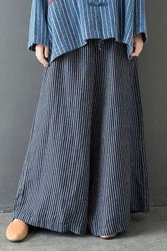 c872ce7d34 Loose Vintage Striped Wide-leg Pants Women Casual Linen Trousers K28018  Best Work Pants