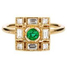 Sabine Getty Emerald Diamond Harlequin Pinky Ring