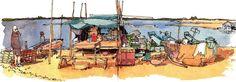 Tonle Sap Chong Kneas Village sketch