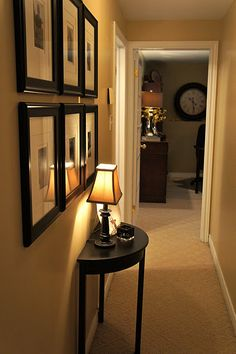 How to decorate a narrow hallway ( I would perfer a wall type hanging light & no table...I run into everything at night lol)
