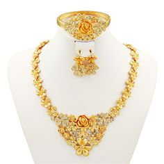 Find More Jewelry Sets Information about  Dubai 18K gold plated jewelry sets Fashion charms white Crystal Golden Flower Necklace Ring Earrings Women's wedding jewelry,High Quality jewelry designs for necklaces,China jewelry making tools supplies Suppliers, Cheap jewelry pendant necklace from AE Jewelry&sport jerseys on Aliexpress.com