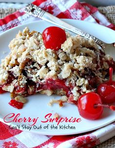 Cherry Surprise | Can't Stay Out of the Kitchen | this fabulous #dessert is made with #cherrypiefilling #coconut and #pecans in a lovely #oatmeal crust. This makes a great #cobbler for #holidays and #Valentine'sDay.