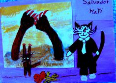 """Salvador Kati"" ACEO ArtistoCat Series Cat-toon Salvador Dali Artists & Cats Salvador Dali and one of his works, catified! A young cat wants to touch it!"