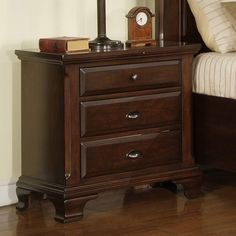 Have to have it. Canton 3 Drawer Nightstand - Deep Cherry - $260 @hayneedle