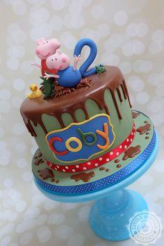 Peppa Pig chocolate ganache drip birthday cake