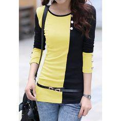 Scoop Neck Color Matching Long Sleeve Women's T-ShirtT-Shirts | RoseGal.com