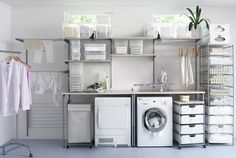 Laundry room cabinets get inspired by our laundry room storage ideas and designs. Allow us to help you create a functional laundry room with plenty of storage and wall cabinets that will keep your laundry. Garage Laundry, Laundry Room Shelves, Laundry Room Cabinets, Basement Laundry, Laundry Storage, Laundry Room Organization, Small Laundry, Laundry Room Design, Ikea Laundry