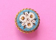 ANTIQUE QUALITY ITALIAN MICRO MOSAIC FLORALGILDED BRASS BUTTON #buttonlovers