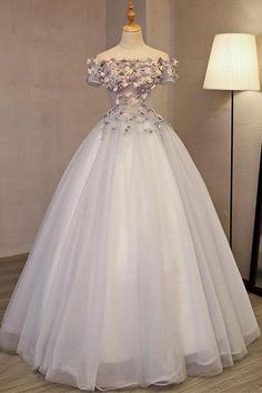 Grey Long Applique Off the Shoulder Tulle A-Line Prom Dress by prom dresses, $216.00 USD