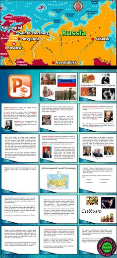This PowerPoint presentation is a basic introduction to Russia's historical leaders, government, economy, and culture. Good for upper elementary and middle school.