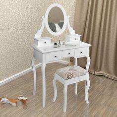 SEA330 - Stoc limitat la pret redus - http://www.emobili.ro/cumpara/sea330-set-masa-alba-toaleta-cosmetica-machiaj-oglinda-masuta-vanity-411 #eMobili