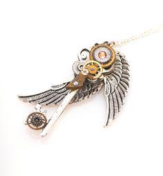 Steampunk Winged Key Necklace