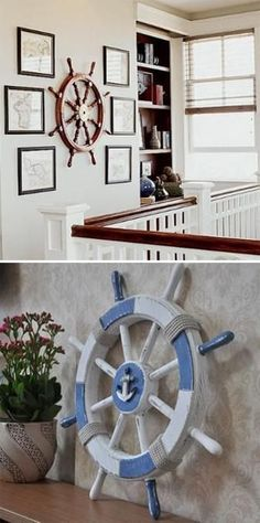 home decor themes interior decorating with nautical decor accessories ship wheels Nautical Bedroom, Coastal Bedrooms, Nautical Home, Nautical Interior, Coastal Interior, Handmade Home Decor, Vintage Home Decor, Home Interior Accessories, Deco Marine