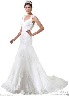 Faironly 2014 White/Ivory Cap Sleeve Wedding Dress Bridal Gown Custom Size