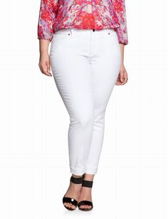 Plus Size Designer Slashed Coral Skinny Jeans, Plus Size Clothing ...