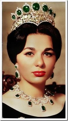 "Farah Diba wearing the Seven Emeralds Tiara. ""royal tiaras and crowns 