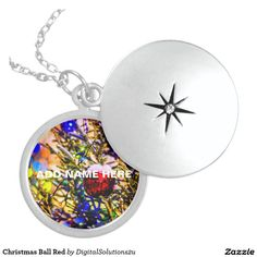 Christmas Ball Red Sterling Silver Necklace