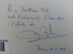 Dedicatòria Miquel Batalla i Ferrando  Enllaç al catàleg: http://encore.uib.es/iii/encore/record/C__Rb2017799?lang=cat