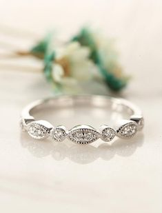 vintage wedding band women white gold Art deco Bridal Jewelry Half eternity Stacking Antique Promise Matching Anniversary gift for her