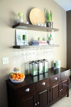 dining rooms, buffet tables, organizing ideas, floating shelves, dine room, bar areas, wine glass, kitchen, display shelves