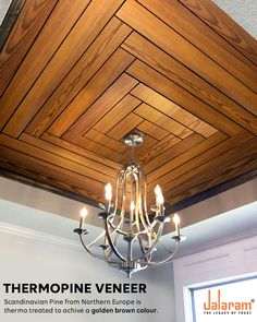 The Thermal modification utilizing high temperature (between & and steaming makes the veneer very durable and turns it into a beautiful Golden Brown colour. Wooden Ceiling Design, Kitchen Ceiling Design, Interior Ceiling Design, Ceiling Design Living Room, Bedroom False Ceiling Design, Ceiling Light Design, Wooden Ceilings, Home Ceiling, Home Room Design