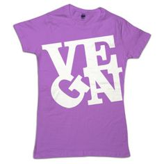 #Vegan love print in white on organic american apparel orchid.  We have just a few of these left.
