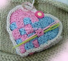 Ravelry: Valentine Basket Wave Sachet pattern by Thata Pang ~Crochet Stitch Crochet, Crochet Motif, Crochet Yarn, Crochet Patterns, Crochet Owls, Crochet Animals, Crochet Ideas, Love Crochet, Crochet Gifts