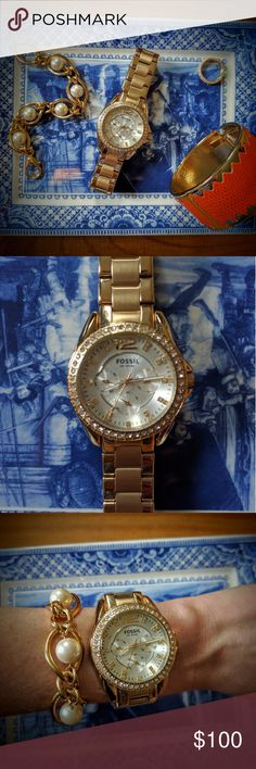 Fossil watch BNOB. Gold Fossil watch with crystal accents. No imperfections (scratches, etc.). Links were taken out, but received another watch as a gift so this one was never worn. Will include links. Please note watch is pictured on a small (6in.) wrist. Fossil Jewelry