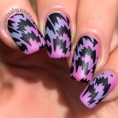 Beautiful purple pink and black nail art! Pretty Nail Designs, Pretty Nail Art, Cute Nail Art, Beautiful Nail Art, Fabulous Nails, Perfect Nails, Gorgeous Nails, Crazy Nails, Fancy Nails