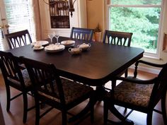 Just finished this duncan phyfe antique dining room set~black distressed