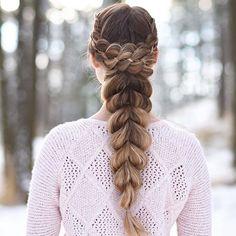 4-Strand Wrapped Pull-Through Braid on myself ❄️ #luxyhair #dirtyblondeluxyhair