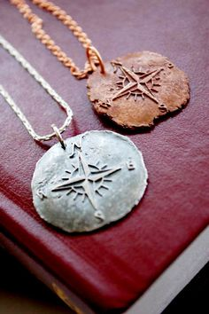 Compass Necklace - Antique Wax Seal Pendant with Nautical Theme on Etsy, $95.00