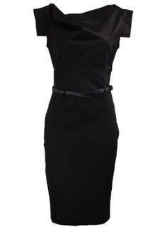 Celebrity Cowl Neck Tailored Workwear Evening Rockabilly Pencil Women's Dress
