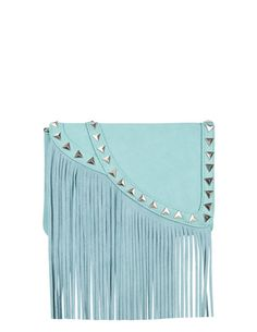 SuiteBlanco- bandolera color menta solapa flecos tachas /  mint studded bag