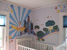 yellow submarine nursery - Vorschule Nursery Themes, Room Themes, Nursery Ideas, Beatles Nursery, Music Nursery, Yellow Submarine Art, Yellow Nursery, Woodland Nursery Decor, Animal Nursery
