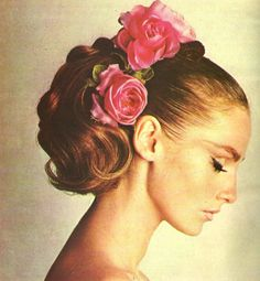 1960's ponytail hairstyle with roses