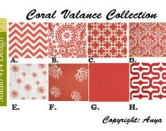 Coral Valance. Coral Valence.Coral Window Treatment.Coral Curtain.