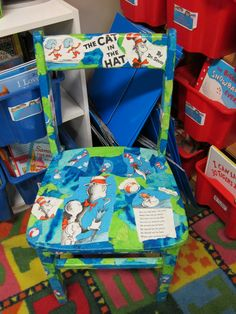Seusstastic Classroom Inspirations:old chair, ripped up book pages, tissue paper, mod podge Classroom Projects, New Classroom, Classroom Design, Classroom Decor, Craft Projects, Classroom Chair, Classroom Birthday, Classroom Routines, Welding Projects