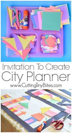 Invitation To Create: City Planner. Open ended creative construction or building paper craft for kids. Great for fine motor development. Perfect for preschoolers, kindergarteners, and elementary students, and allows exploration of shapes and colors. Kindergarten Art, Preschool Crafts, Learning Activities, Preschool Activities, Creative Curriculum Preschool, Quiet Time Activities, Creative Activities For Kids, Paper Crafts For Kids, Easy Crafts
