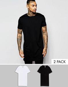 Pack de 2 camisetas muy largas en blanco y negro con cuello redondo de ASOS,  AHORRA un