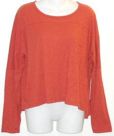 MADEWELL by J Crew Top sz m Slouchy Terracotta Orange Cotton Jersey Boxy Shirt #Madewell #KnitTop #Casual